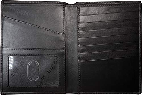 AurDo RFID Blocking Real Leather Passport Holder Cover Case & Travel Wallet for Men & Women (Vegetable Tanned Black)