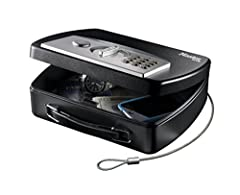 The Master Lock Compact Safe is the perfect solution for 'on-the-go' security. It is ideal for cars, trucks, dorms, campers and boats, or trips to the beach. It is designed to secure cell phones, wallets, keys, iPods, GPS units and other comp...