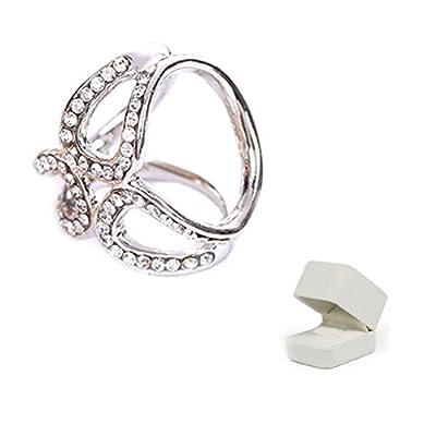 AKOAK Three-Rings Rhinestone Silk Scarves Buckle with Flannelette Jewelry Box