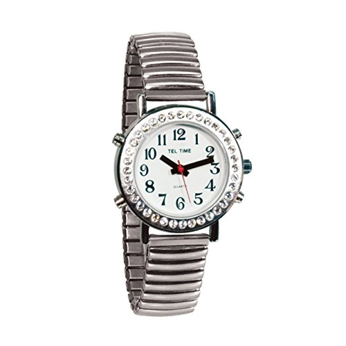 Ladies Talking Watch with Rhinestone Bezel and Expansion Band -English by Tel-Time