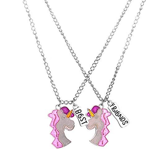 LOSOUL 2Pcs/set Best Friends Unicorn Friendship Necklaces Set