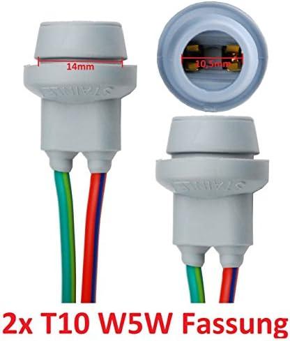 L&P B578 2x T10 W5W Gummi Fassung Lampen Gummifassung Lampenfassung Glassockel für W2,1X9,5D Glühlampen Glühbirnen Lampen