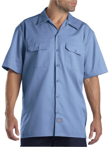 (Dickies Men's Short-Sleeve Work Shirt, Light Blue,)