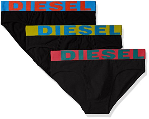 Diesel Men's 3-Pack Andre Cotton Stretch Briefs, Black/Multi, M by Diesel
