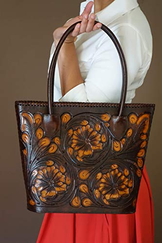 TOOLED LEATHER FLORA TRAPEZOID BAG|