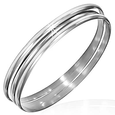 Stainless Steel Silver-Tone Three Stackable Womens Bangle Bracelets
