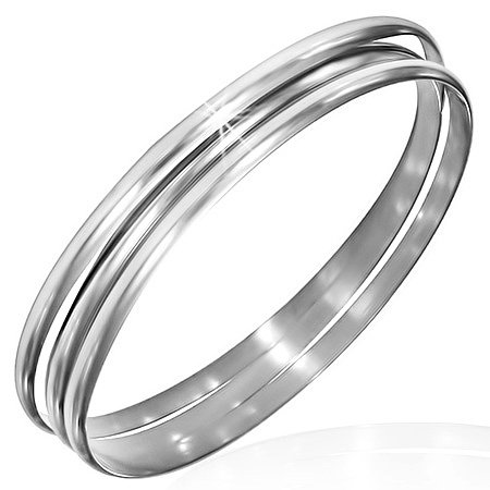 My Daily Styles Stainless Steel Silver-Tone Three Stackable Womens Bangle Bracelets