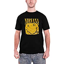 Nirvana T Shirt Smiley Face Band Logo Boxed Official Mens Black