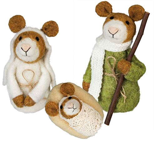 - Primitives By Kathy Felt Nativity Mice Mouse 3 pc Figures