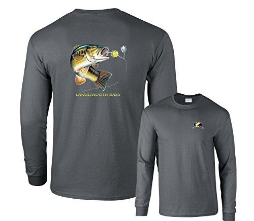 Sleeve Shirt Fishing Cotton Long (Fair Game Largemouth Bass Profile Fishing Long Sleeve T-Shirt-Charcoal-Large)