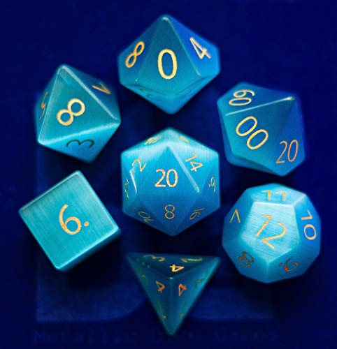 Engraved Cat's Eye Aquamarine Gemstone Polyhedral Dice Set: Hand Carved Full-Sized 16mm. Great for DND RPG Dungeons and Dragons (Dice Carved Stone)