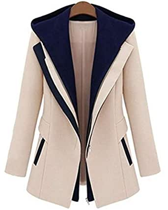 False two-piece coat full sleeves zipper slim fit type casual coat with hood