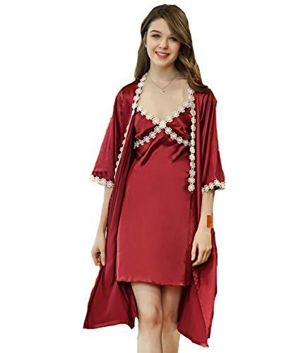 autunno Camicia Rosso due pigiama da Pigiami DSJJ notte seta pezzi raso donna nPx87xqdWw