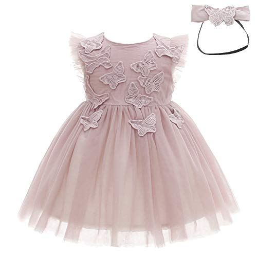 611482bb030d Meiqiduo Baby Girls Dress Infant Birthday Christening Wedding Party Lace  Tulle Tutu Dresses Outfit with Headband