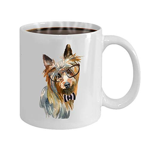 - Tea Or Coffee Cups 100% Ceramic 11-Ounce White Mug australian silky terrier hand painted isolated whit
