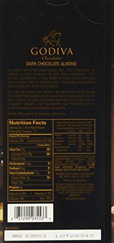 031290035533 - Godiva Chocolatier Dark Chocolate with Almond Bar, Large carousel main 3