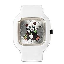 White Fashion Sport Watch Cute Panda Bear Eating Bamboo