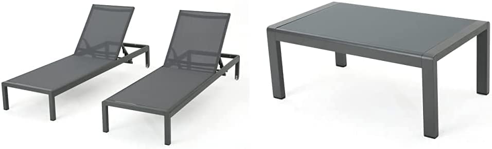 Christopher Knight Home Cape Coral Outdoor Aluminum Chaise Lounges with Mesh Seat, 2-Pcs Set, Grey/Dark Grey & Cape Coral Outdoor Aluminum Coffee Table with Tempered Glass Table Top, Grey