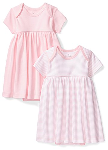 Dress Back Baby - Moon and Back Baby Girls' Set of 2 Organic Short-Sleeve Dresses, Pink Blush, 3-6 Months