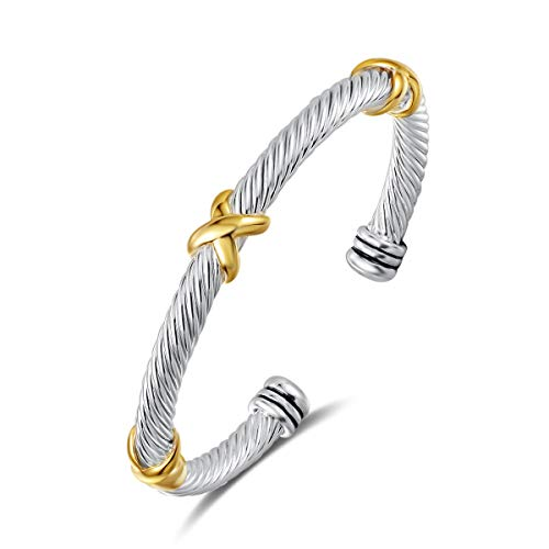 UNY Bracelet Designer Brand Inspired Antique Women Jewelry Cross Cable Wire Bangle Christmas Day Gifts (Triple)