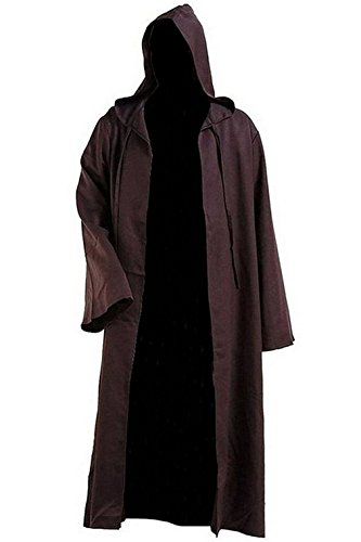 Mens Knight Long Jedi Robe Brown Warrior Cosplay Capes Halloween (Jedi Warrior Costumes)