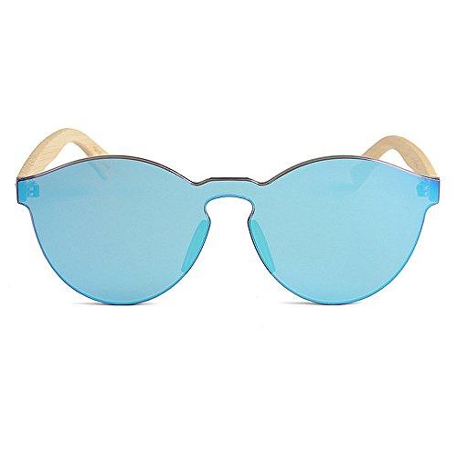 Fait Seule colorée Une Convient Jambe Gububi lentille et à la Bleu Polyvalent Protection Bambou Unisexe extérieure Soleil Utilisation Une Hommes pour pièce pour Femmes Lunettes Main Style quotid de UV YnB55qva