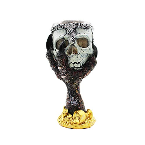 (VOTENVO Skull Wine Goblet Chalice, Dragon Claw Chalice Cup, Skeleton Ossuary Pirate Treasure Chalice Resin Body Stainless Steel Liner Drinking Cup )