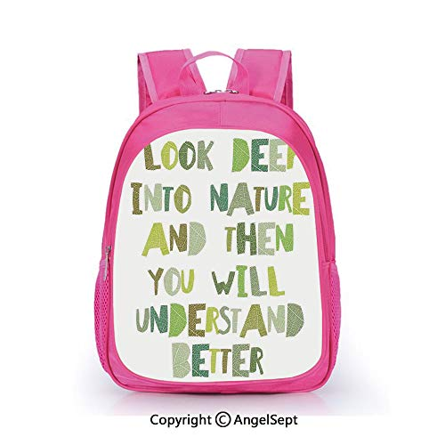 Fashion Kindergarten Children Waterproof Bookbag,Look Deep into Nature and then You Will Understand Everything Better Leaf Cut Letters Green,15.7inch,Elementary School Travel Bag For Girls