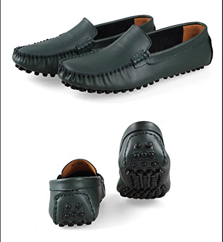Gå Tur Man Tillfälliga Läder Penny Loafers Andas Halka På Att Köra Skor Grönt