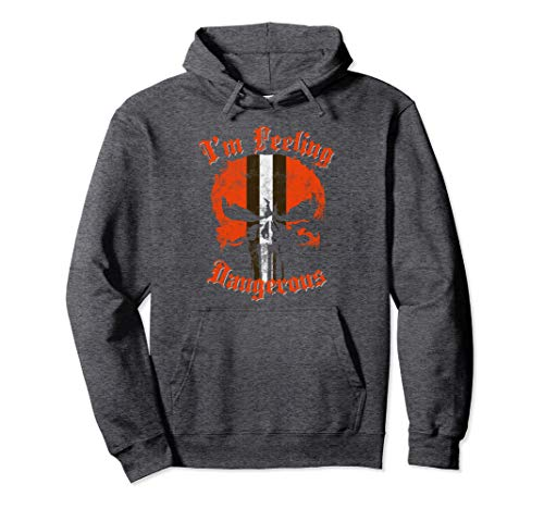 Football Helmet Skull Orange Brown & White Pullover Hoodie 2 ()