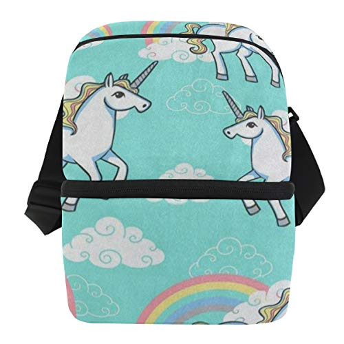 Lunch Bag Cartoon Unicorn Rainbow Cloud Insulated Cooler Bag Mens Leakproof Food Organizer Zipper Tote Bags for Car