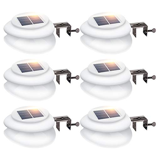 Nine Incandescent Light (Solar Fence Lights, DS Lighting Outdoor 9 LED Gutter Light Waterproof Security Lamps for Eaves Garden Landscape Walkway (Warm White, 6 Pack))