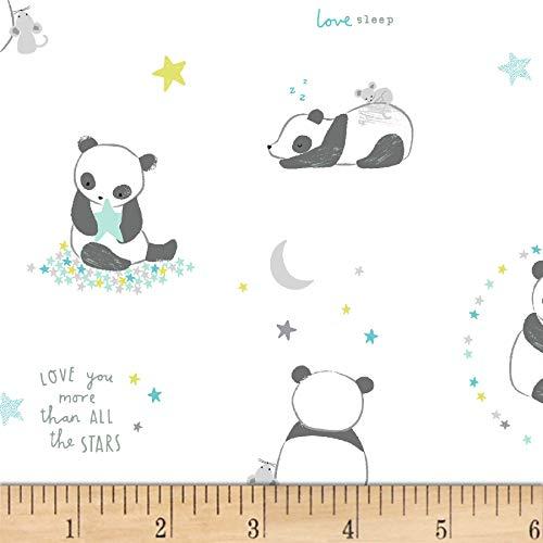 Dear Stella Designs Wide Awake Panda Bears Fabric, White, Fabric By The Yard