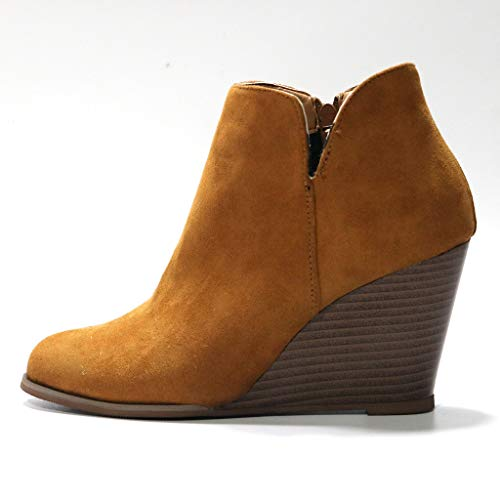 Women's Wedges Ankle Booties Retro V Cutout Comfy Short Boots Flock Leather Zip Closure Stacked Chun - http://coolthings.us