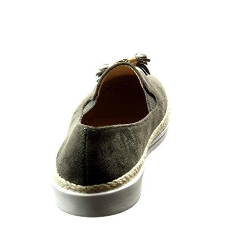 node Flat Fringe Espadrilles 5 On Heel cm Golden Angkorly Knot FC 7 T Grey Fashion 40 02 2 Shoes Women's Slip X8vwO1q0w