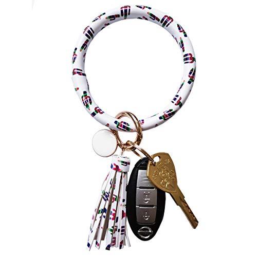 Toota Wristlet Round Big O Key Ring Chain Leather Oversized Bracelet Bangle Keychain Holder Tassel for Women Girl (Colorful Cactus) ()