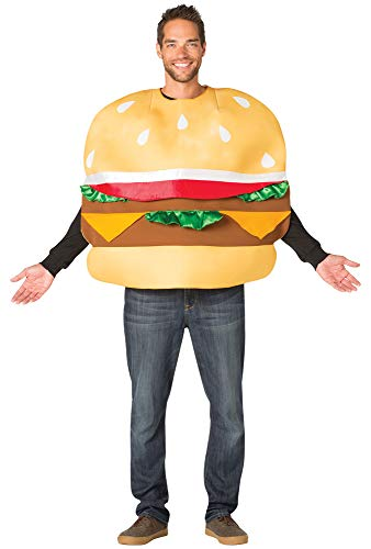 Rasta-Imposta Men's Slider Cheesy Burger Theme Party Outfit Halloween Costume, One Size