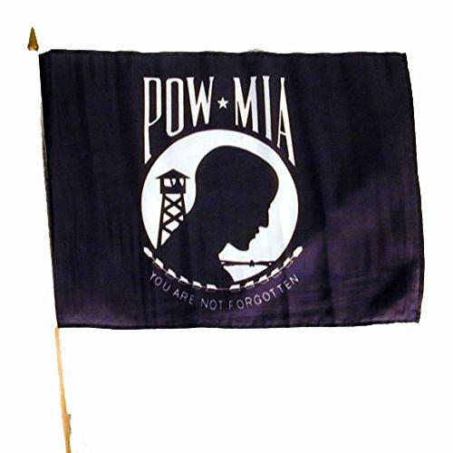 12 ( 1 Dozen ) Pow Mia Military 12 X 18 Flag on Wood Stick