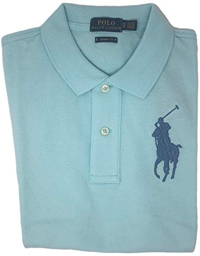 (Ralph Lauren Women's Big Pony Tri-Color Mesh Polo Shirt (X-Large, Soft Aqua))