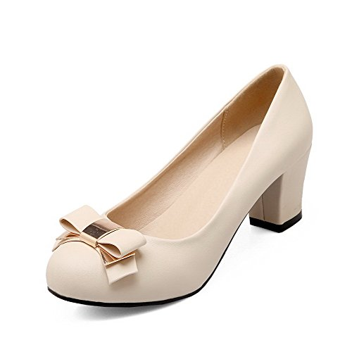AllhqFashion Damen PU Mittler Absatz Spitz Zehe Rein Ziehen auf Pumps Schuhe, Cremefarben, 41