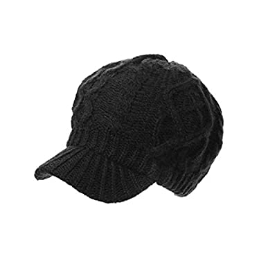 Siggi Women Thick Wool Knit Newsboy Cap Visor Beanie Hat Cotton Lined MultiColor