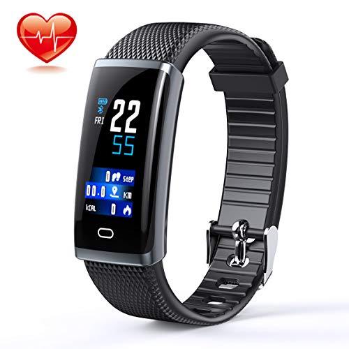 AUNZO Smart Watch Fitness Tracker Wristband - Heart Rate Monitor, Pedometer, Sleep Monitor & Step Counter | IP67 Waterproof Sports Bracelet for Men & Women | Sedentary Reminder &
