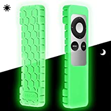 Fintie Protective Case for Apple TV 2 3 Remote Controller - Casebot (Honey Comb Series) Light Weight (Anti Slip) Shock Proof Silicone Sleeve Cover, Green Glow