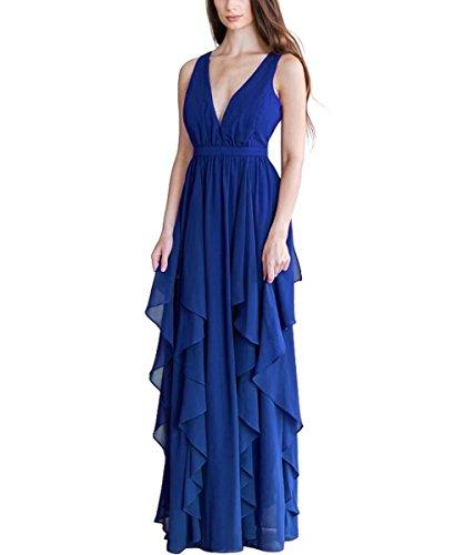 Maxi Demoiselles D'honneur Jabot Femmes Robe Longue Robes De Bal De Mariage De Retour À La Maison Bleu Royal