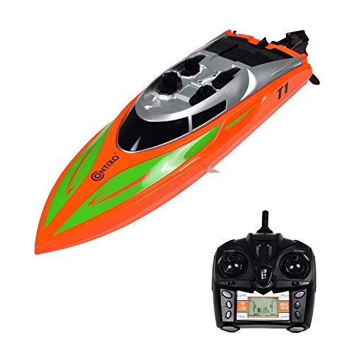 (Contixo T1 RC Remote Control Racing Sport Boat Speedboat | Swimming Pool Toy Ship, Lakes, Rivers, Recreational Hobby - Orange)