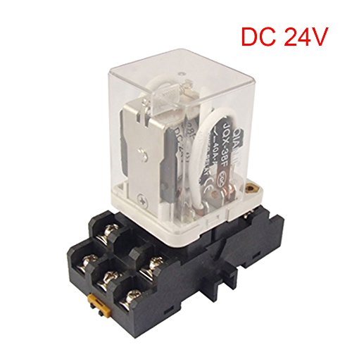 Yohii DC 24V 11 Pin Coil Voltage Power Relay with Socket Base Coil Power Relay