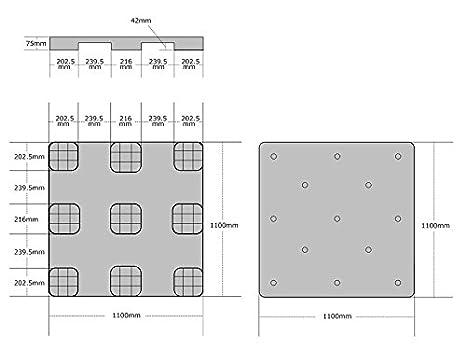 1100x1100mmサイズ 倉庫保管・輸出用に 薄型プラスチック樹脂パレット 農地・園芸用の土台/ 【5枚セット】