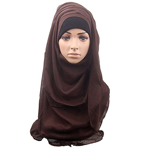 Sanwood Womens Lightweight Poly Cotton Sheer Jersey Hijab Scarf (Coffee ) (Sheer Cotton Poly)