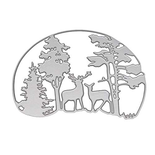 Itlovely Deer Forest Metal Cutting Dies Stencil for DIY Scrapbooking Paper Card Embossing Craft Decor ()