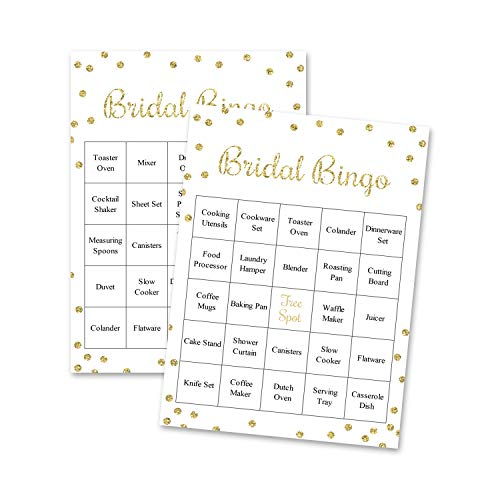 InvitationHouse Gold Confetti Bridal Bingo Game - Bridal Shower Prefilled Bingo - Set of 24 Cards (Faux Gold on -